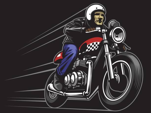 mann benutzerdefinierte oldtimer motorrad fahren - funktionsjacke stock-grafiken, -clipart, -cartoons und -symbole
