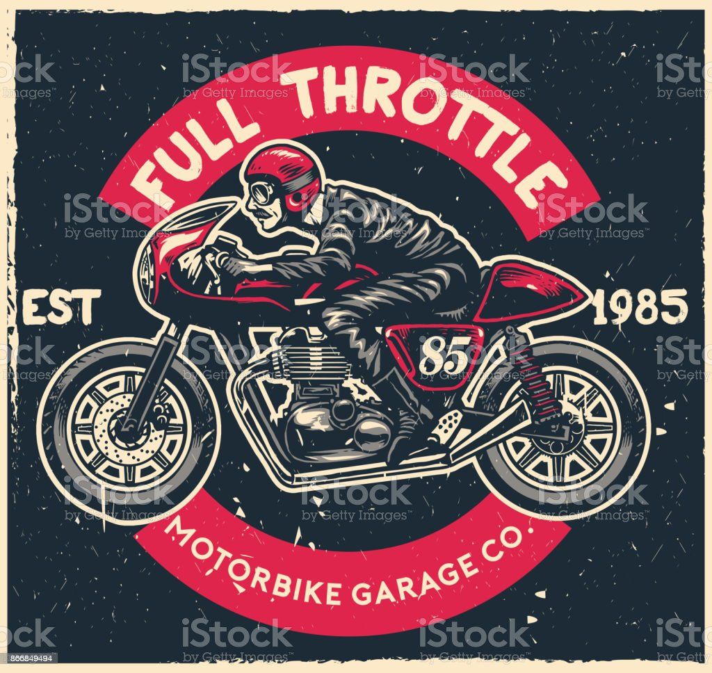 man ride cafe racer motorcycle in hand drawing vector art illustration