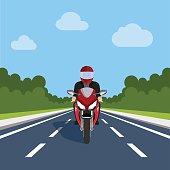 Man Ride Motor Bike on Highway , Sport Motorcycle