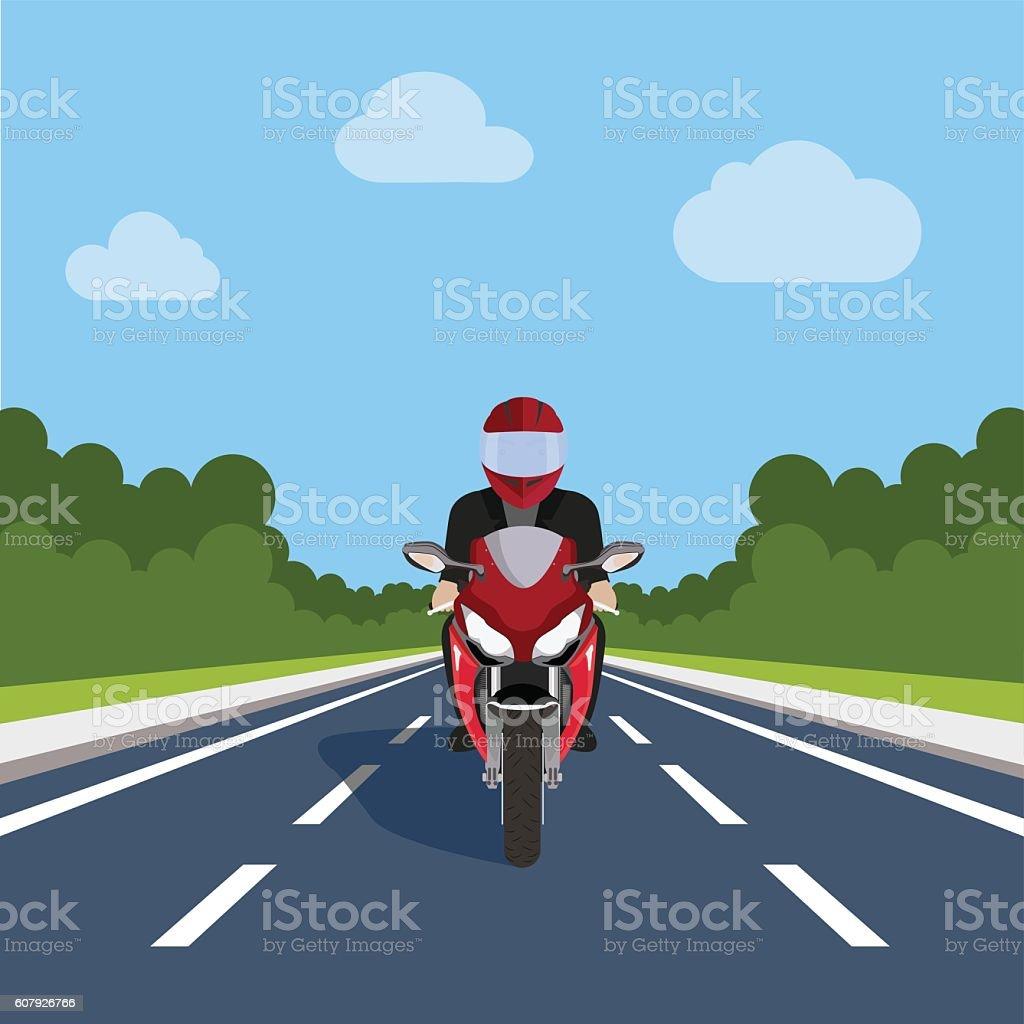 Man Ride Motor Bike on Highway , Sport Motorcycle vector art illustration