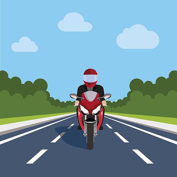 man ride motor bike on highway , sport motorcycle - fahrzeug fahren stock-grafiken, -clipart, -cartoons und -symbole