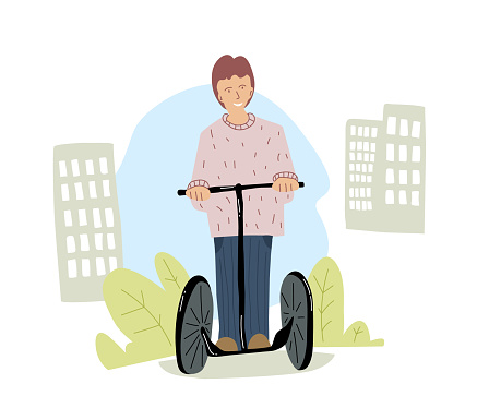 Man rides on a segway in the city. People use eco vehicle. Flat design
