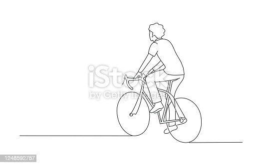 Man riding a bicycle. Line drawing vector illustration.