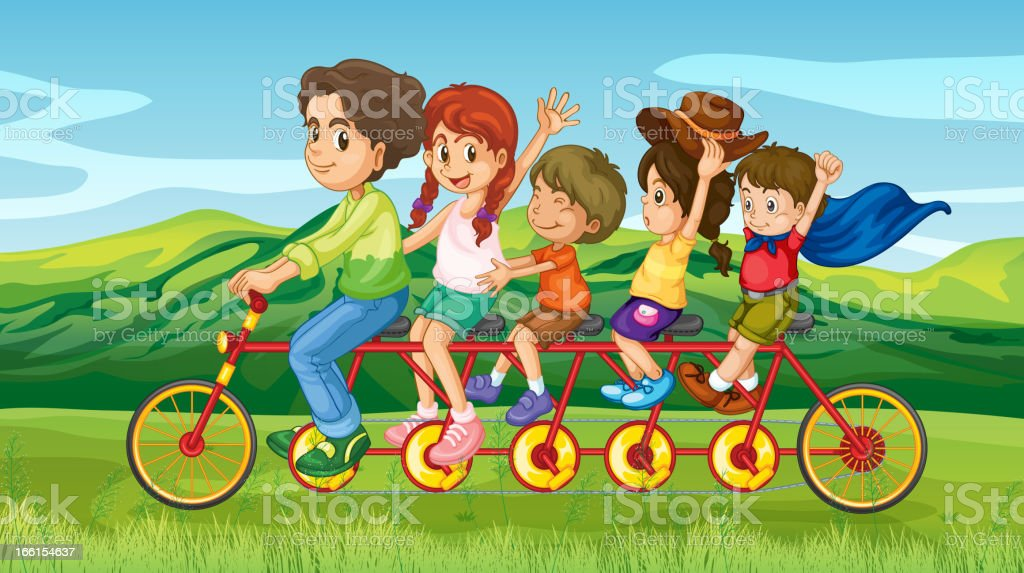 Man riding a bike with four kids royalty-free stock vector art