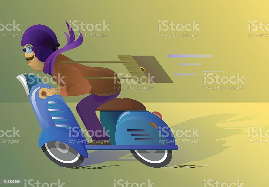 man riding a blue scooter vector art illustration