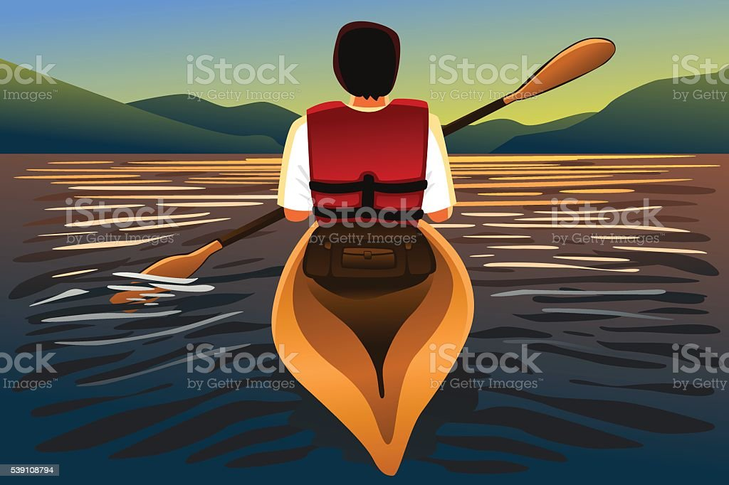 Man riding a kayak in the lake vector art illustration