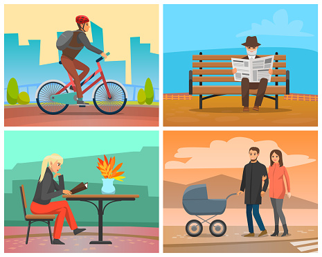 Man Riding Bicycle, Couple with Perambulator in City