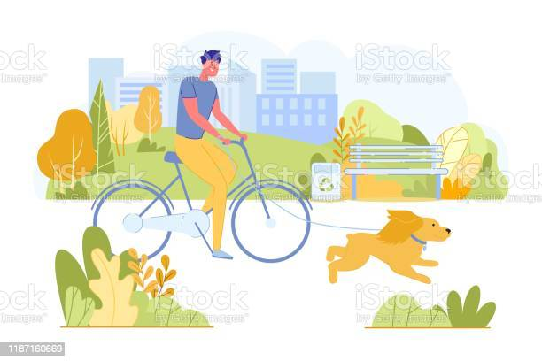 Man riding bicycle with dog running near in park vector id1187160669?b=1&k=6&m=1187160669&s=612x612&h=4lbgyogtqph1lwnxhrydd8j0t2ido0s1rpa dsnvdx0=