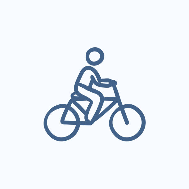 Man riding bike sketch icon. vector art illustration