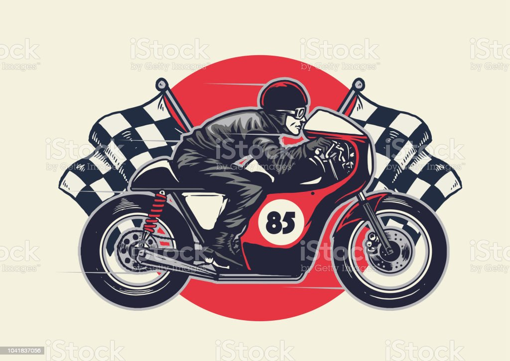Man Riding Cafe Racer In Hand Drawing Style Stock Vector Art More