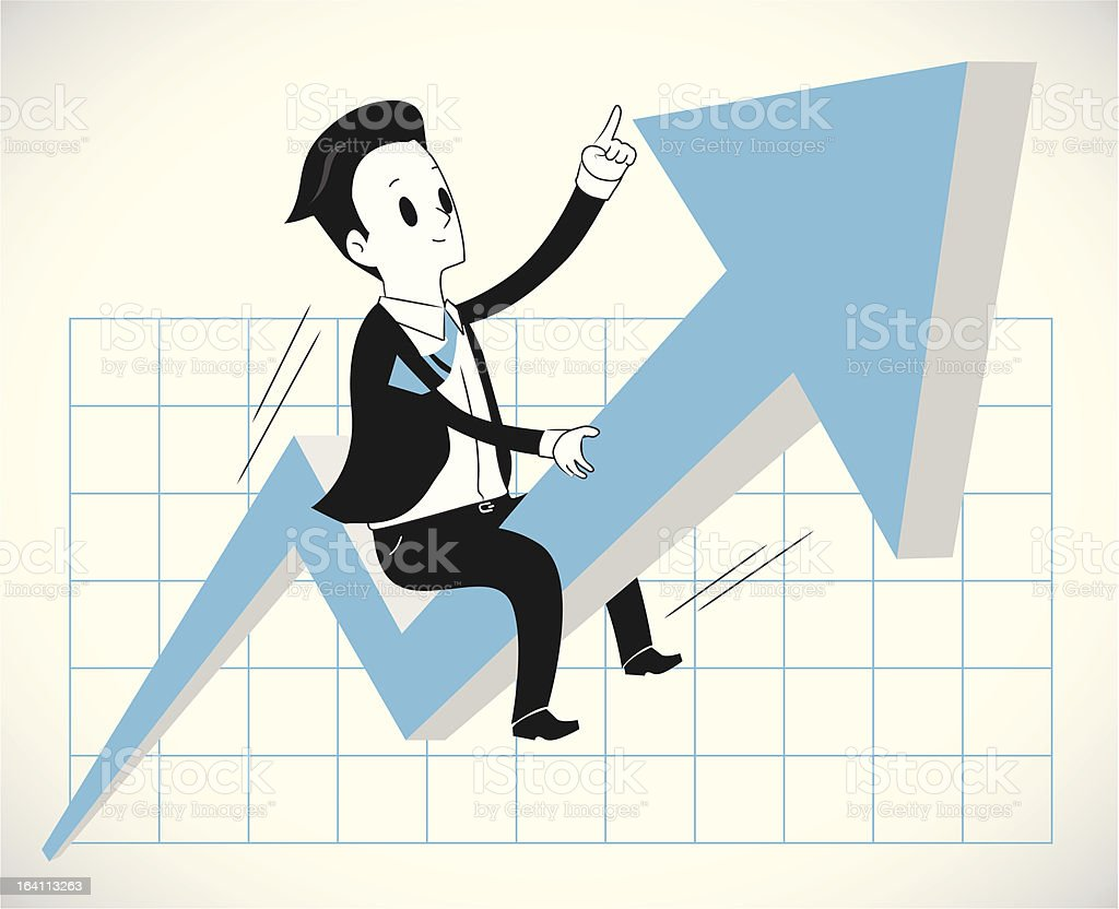 Man riding growth graph royalty-free man riding growth graph stock vector art & more images of abundance