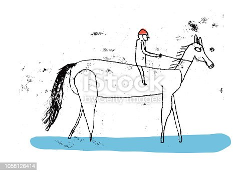 istock Man riding horse 1058126414