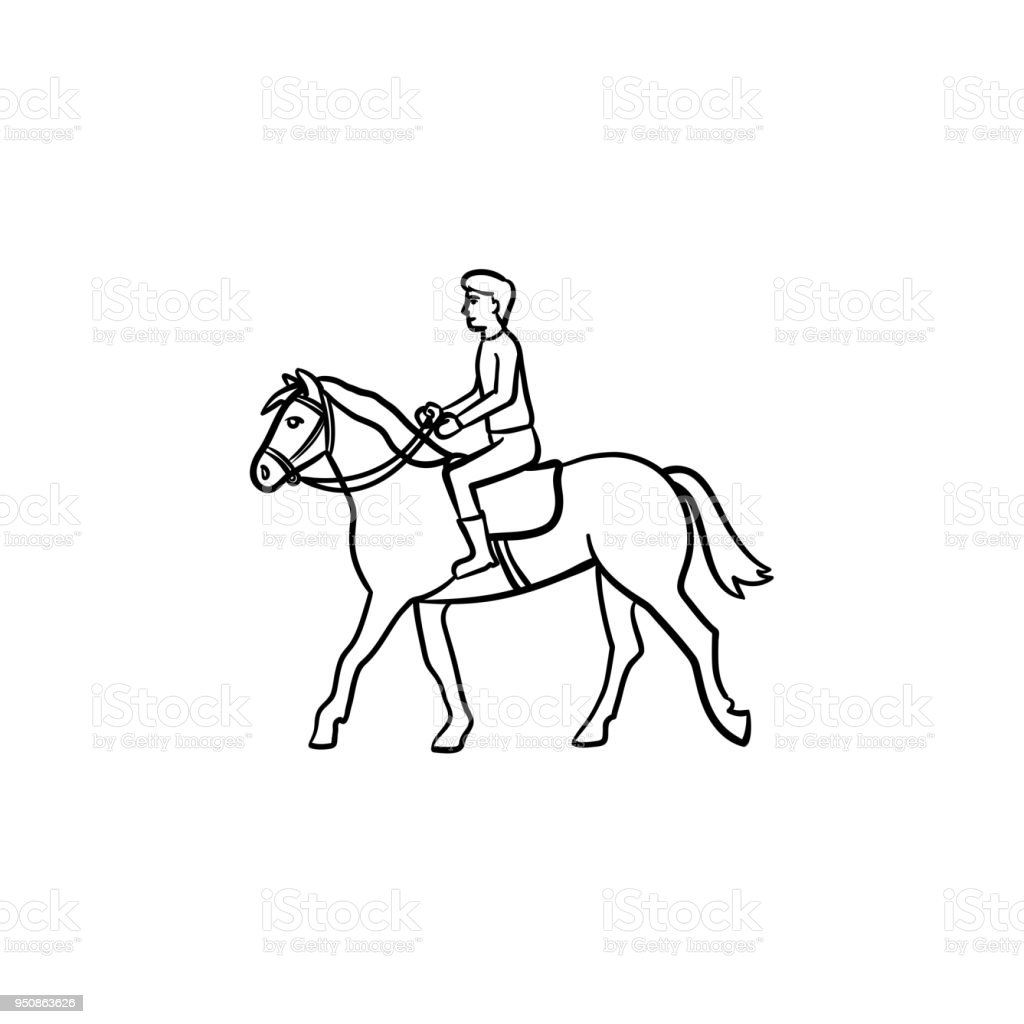 Man Riding Horse With Saddle Hand Drawn Icon Stock Illustration Download Image Now Istock