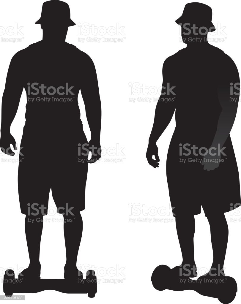 Man Riding Hoverboard Toy Silhouettes vector art illustration
