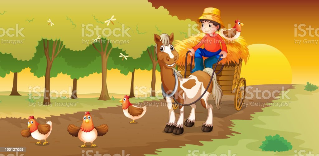 Man riding in his cart going to the farm royalty-free stock vector art