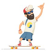 Hipster man character with beard riding longboard. Adult man rides skateboard. Vector illustration cartoon person isolated on white background