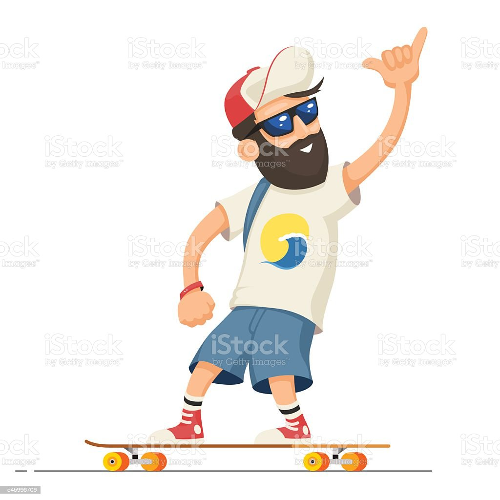 Man riding longboard vector art illustration
