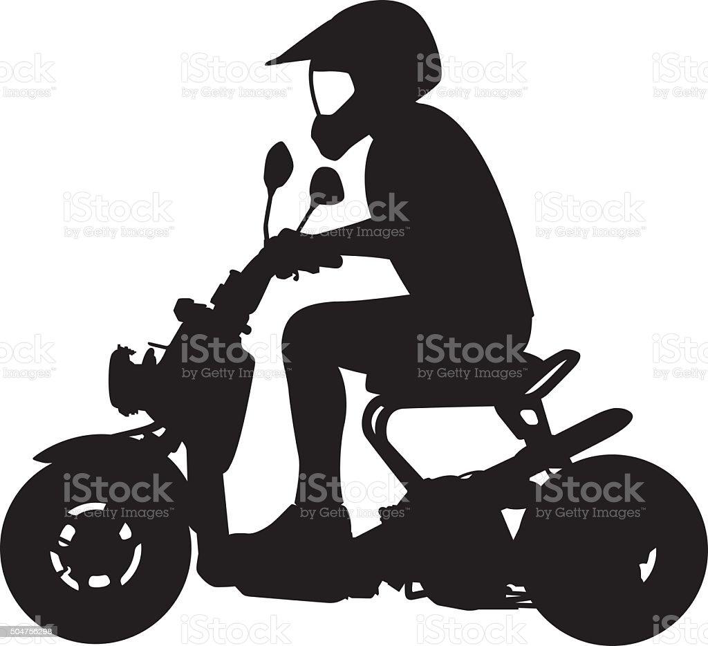 Man Riding Moped Silhouette vector art illustration