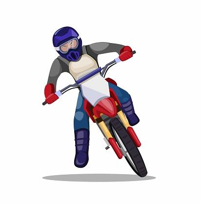 man riding motocross dirt bike, racer motorbike trail cornering in cartoon flat illustration vector isolated in white background