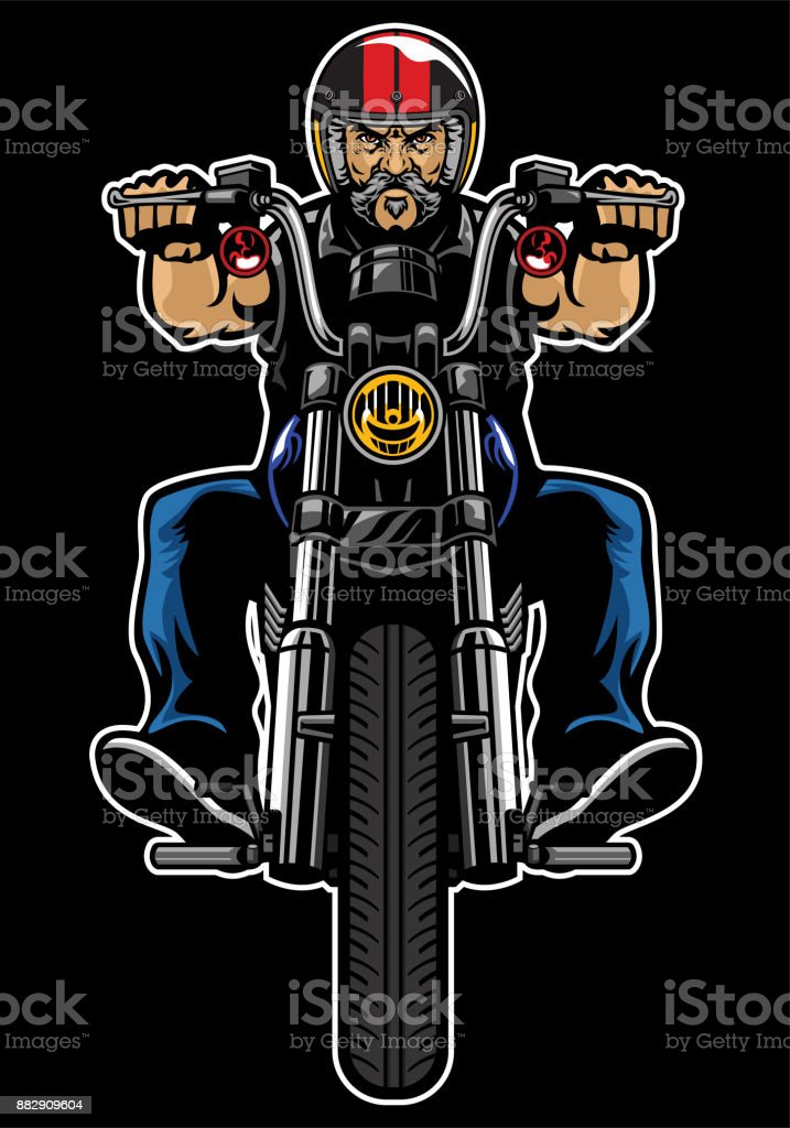 Man Riding motorcycle vector art illustration