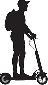Vector silhouette of a man riding a motorized scooter.