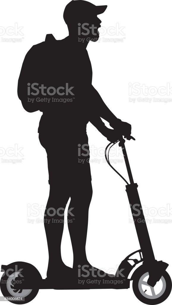 Man Riding Motorized Scooter vector art illustration