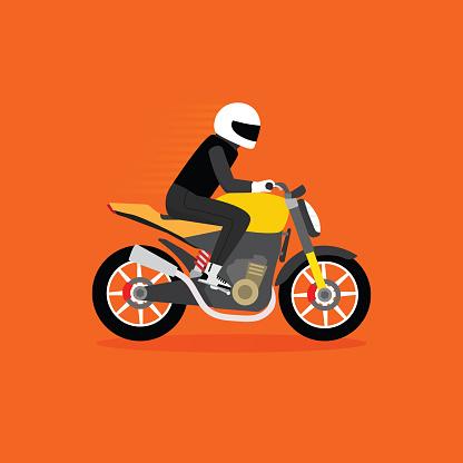 Man riding naked motorcycle, naked bike