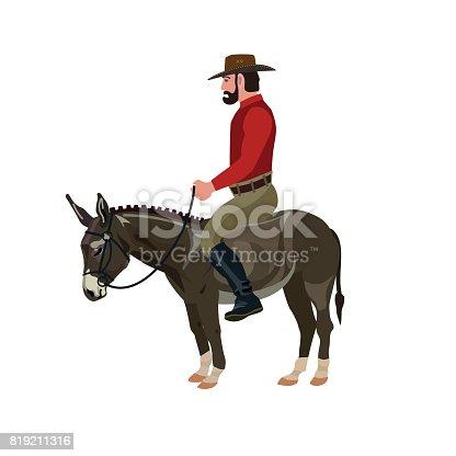 Man riding on donkey. Vector illustration