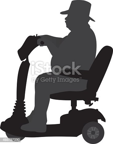 Vector silhouette of an overweight man riding a scooter.