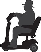 Man Riding on Handicap Scooter Silhouette