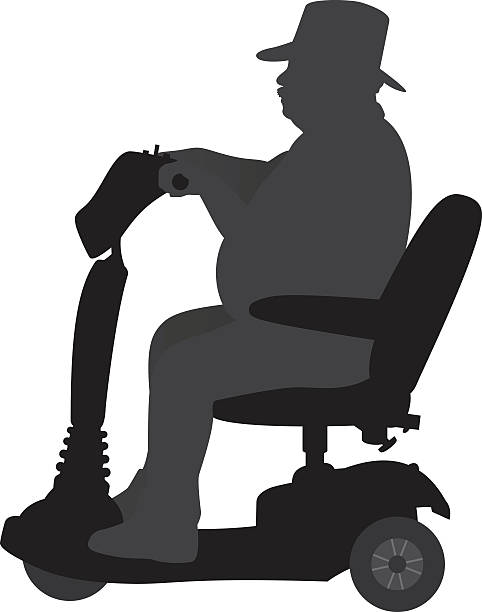 man riding on handicap scooter silhouette - old man sitting chair clip art stock illustrations, clip art, cartoons, & icons