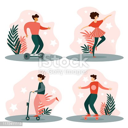 Young Man Characters Riding Scooter, Skateboard and Hoverboard, Girl Dancing. Active People Enjoy Ride Open Air. Healthy Lifestyle, Eco Transportation, Dance Studio. Cartoon Flat Vector Illustration