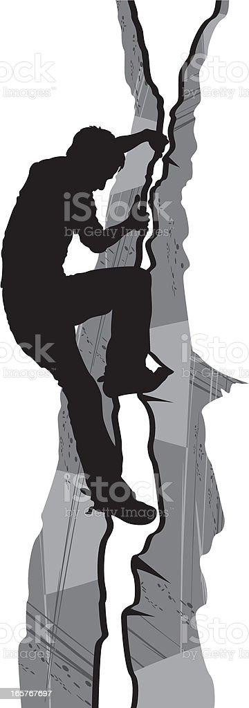 Man Rock Climbing in Silhouette royalty-free stock vector art