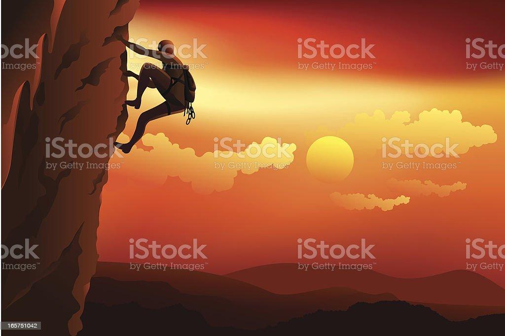 Man rock climbing vector art illustration