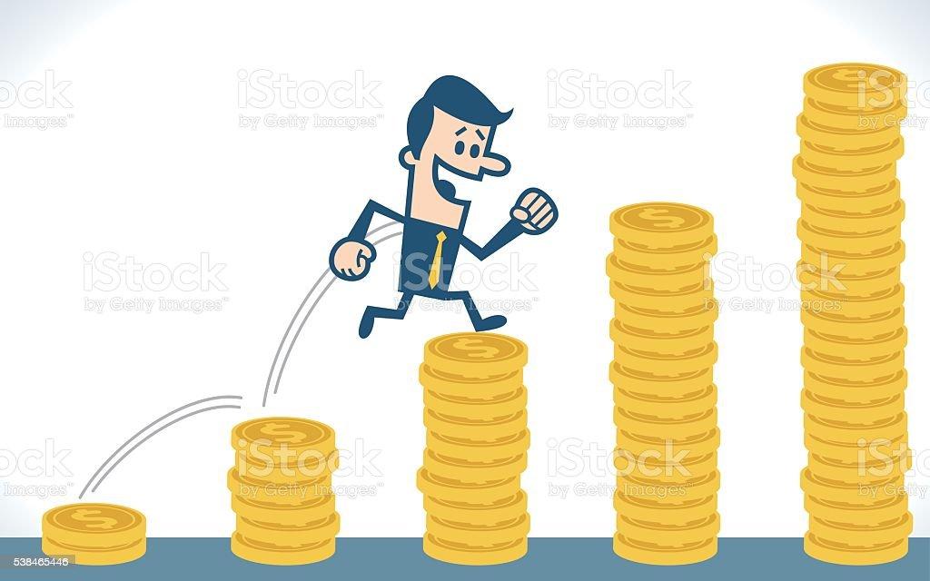 Man run and jump on money stairs vector art illustration