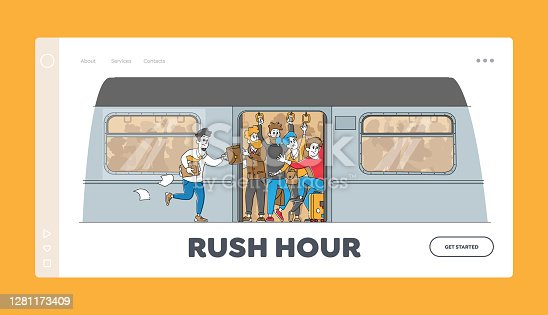 istock Man Run in Subway Platform to Crowded Train in Rushtime Landing Page Template. Characters Pushing Each Other in Metro 1281173409