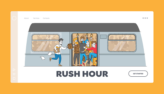 Man Run in Subway Platform to Crowded Train in Rushtime Landing Page Template. Characters Pushing Each Other in Metro