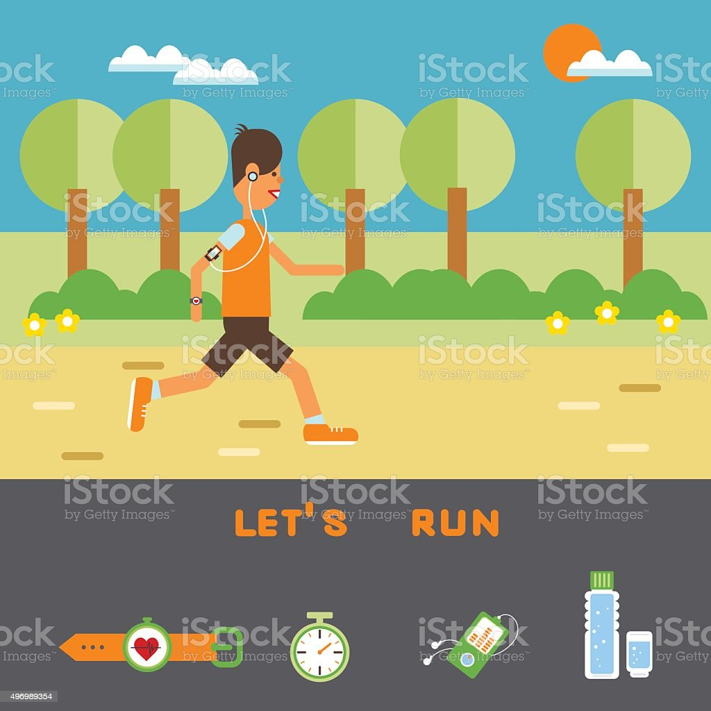 Man run in the park. vector art illustration