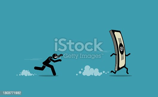 istock Man running and chasing after a run away money. 1303771932