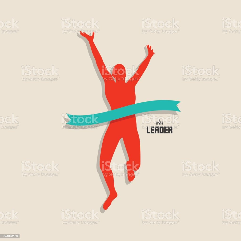 Man running at the finish line. vector art illustration
