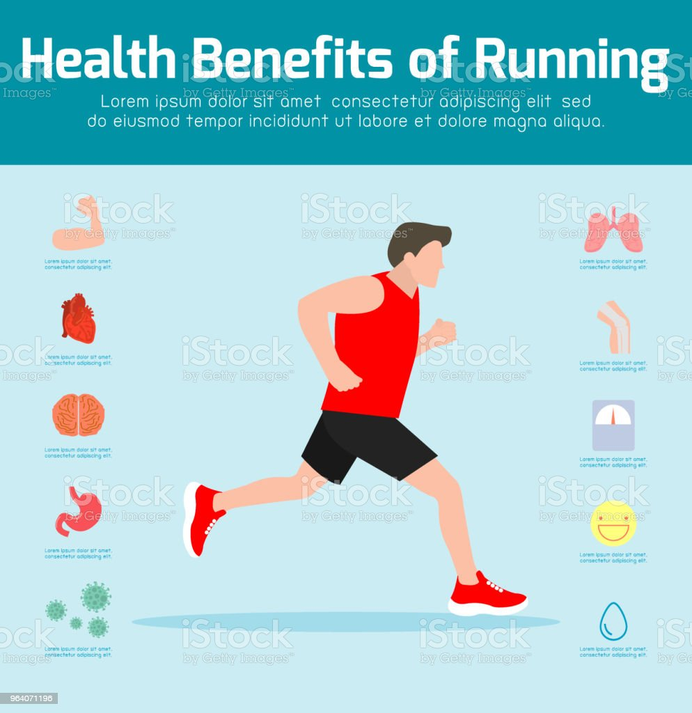 Man Running . Benefits of jogging, exercise, sport. Healthy fitness,lifestyle,infographics, workout concept. - Royalty-free Activity stock vector
