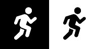 Man Running Fast.This royalty free vector illustration features the main icon on both white and black backgrounds. The image is black and white and had the background rendered with the main icon. The illustration is simple yet very conceptual.