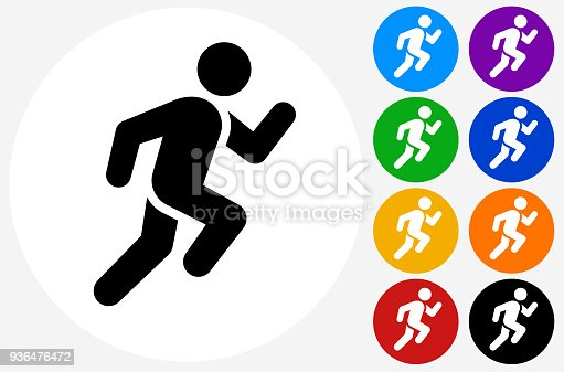 Man Running Icon. The main icon is placed on a flat blue background. It takes up the center portion of the composition and is the main focus of this vector illustration. The icon is simple and the background further emphasizes the icon shape and makes it stand out. The illustration is a 100% royalty free vector.The icon is black and is placed on a round blue vector button. The button is flat white color and the background is light. The composition is simple and elegant. The vector icon is the most prominent part if this illustration. There are eight alternate button variations on the right side of the image. The alternate colors are orange, red, purple, yellow, black, green, blue and indigo.