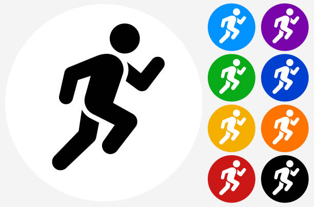 stockillustraties, clipart, cartoons en iconen met man running pictogram - atleet