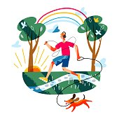 istock Man running in park with happy dog. Guy exercising outdoor in morning. Schedule vector illustration. Everyday healthy routine. Park background with trees, grass and rising sun 1284876045