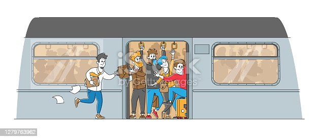 Man Running in Subway Platform to Crowded Train in Rushtime. Characters Pushing Each Other in Full Metro at Station in Peak Hour. City Traveling Transport Problem. Linear People Vector Illustration