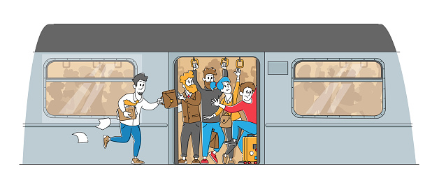 Man Running in Subway Platform to Crowded Train in Rushtime. Characters Pushing Each Other in Full Metro in Peak Hour