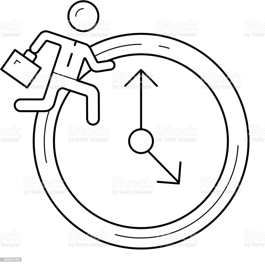 Man running on clock background vector line icon vector art illustration