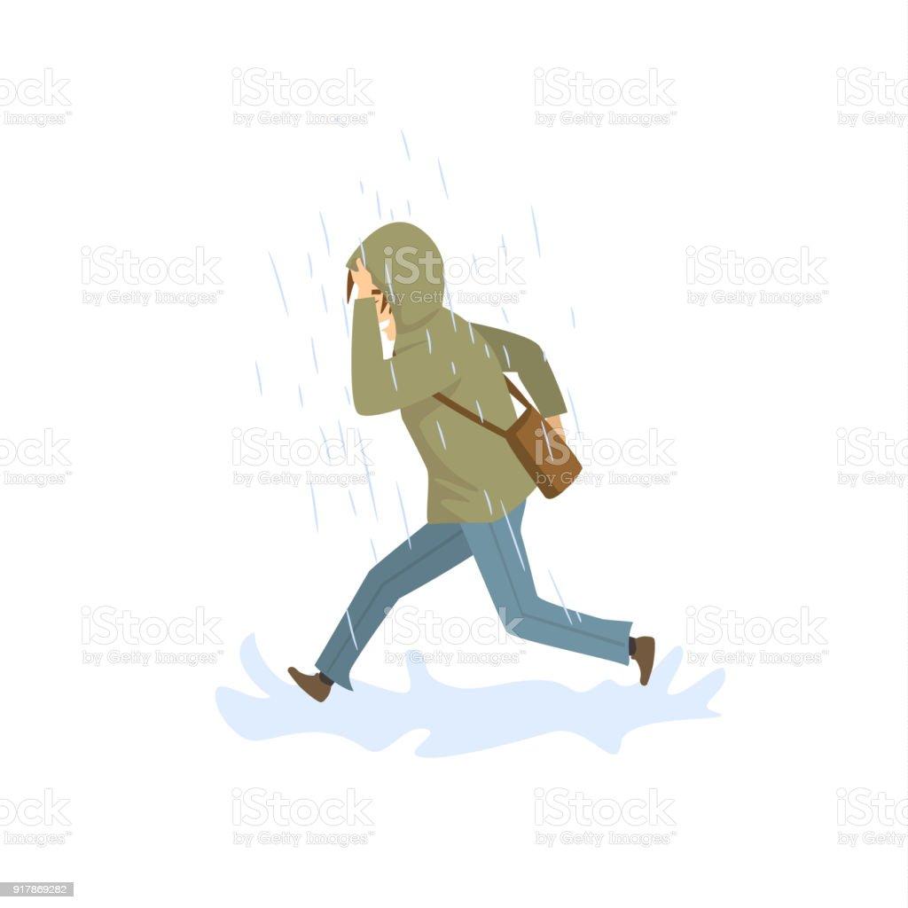 強い雨の中走っている人 1人のベクターアート素材や画像を多数ご用意