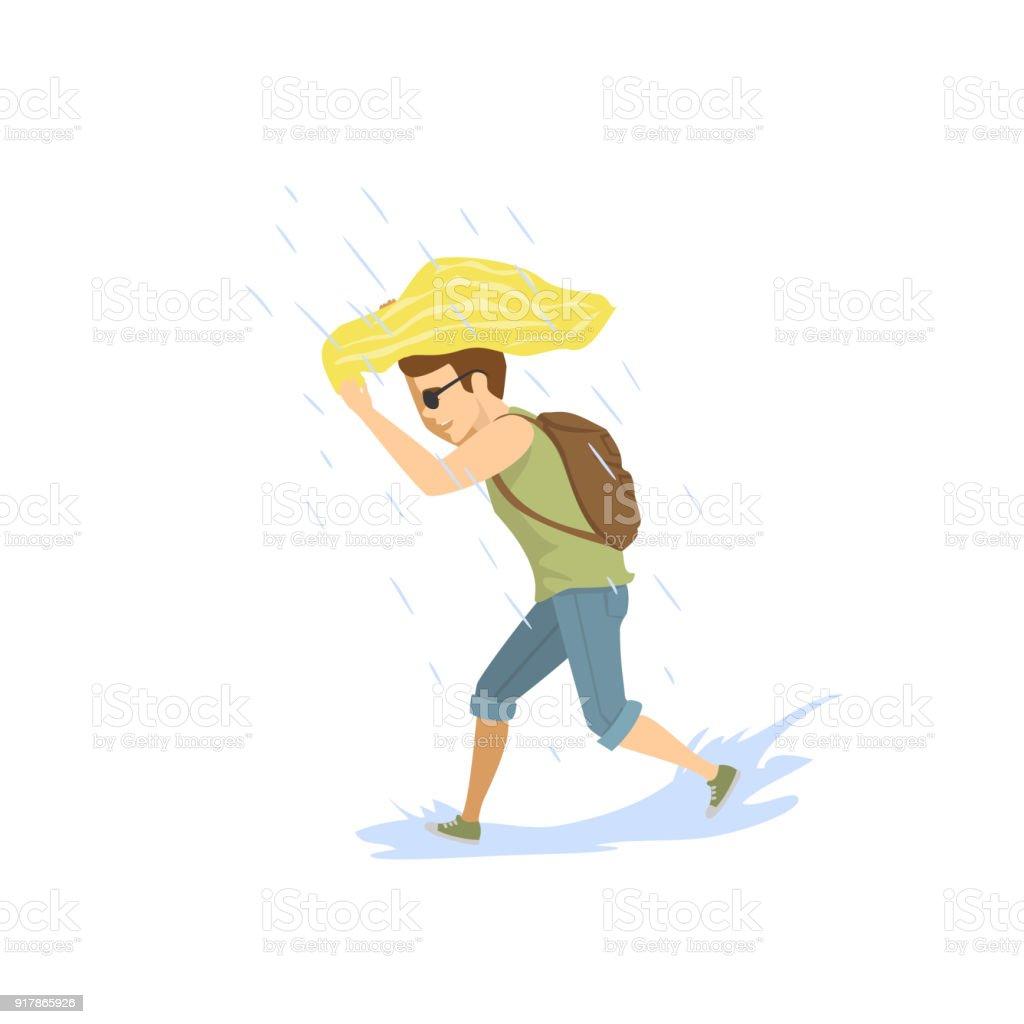 強い夏の雨の下で走っている人 1人のベクターアート素材や画像を多数ご